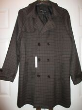 Paisley & Gray Double-Breasted Black/Brown Plaid Overcoat~XL Slim Fit~NWT