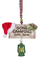 Gone Camping Love, Santa Christmas Ornament w/ Lantern & Santa Hat