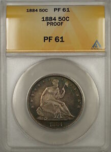 1884 Proof Seated Liberty Silver Half Dollar 50c ANACS PF-61 (Better Coin)