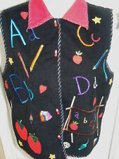 Life Style Teacher ABC Vest Cordoroy Embroidered Apple Book Pencil Button Medium