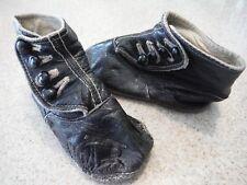 1928 Vintage Antique Black Leather Baby Shoes