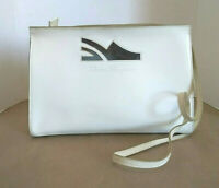 VTG Salvatore Ferragamo Women's Bag Ivory Patent Leather Convertible to Clutch