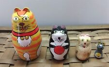 Set of 4 Cat Nesting Dolls with Mouse Wood Open Up Orange Yellow Red Black Lot