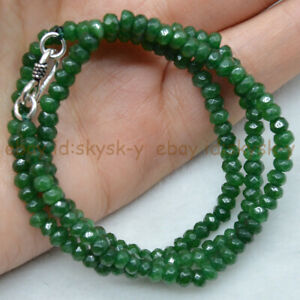 2x4mm Natural Green Emerald Faceted Roundel Gems Beads Necklace Silver Clasp