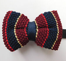 Striped knitted bow tie multi coloured stripes size 12-20 NEW in box