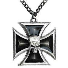 Alchemy Gothic Herren Schwarze Ritter Eisernes Kreuz Anhänger Skull Punk P617