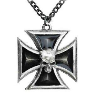 Alchemy Gothic Homme Noir Croix de Chevalier Fer Pendentif Punk Crâne P617 Nwt