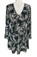 H.M Black White Chiffon Floral Mini Fit & Flare Dress V-Neck Women Size M