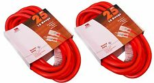 (2) 25 Ft 10 Gauge Extension Cord Heavy Duty Grounded Lit End UL 10/3