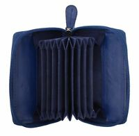 New Ladies Full Zip Around Leather Concertina Credit Card holder Coin Purse Blue