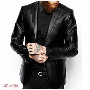 Mens Black Leather Blazer Coat Slim Fit Soft Real Leather Jacket Coat