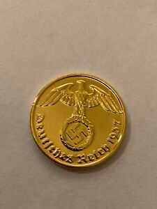 Third Reich WW2 German 2 Reichspfennig 1937, 1938, 1939, Gold Plated, Nazi