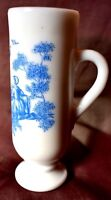 Avon  Victorian couple Glass with handle tall white blue Approx 5 inch tall