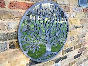 Tree of Life Garden Mirror Silver/Grey Zinc Quirky Metal Garden Mirror