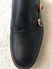 New Fratelli Borgioli Men's Double Monkstrap Leather Shoes, Black UK8.5, US9.5