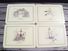 Vintage Hard Board Place Mats Set of (4) BERMUDA Retro Placemats