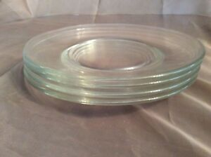 Libbey Crisa Moderno Glass Plates Set of 6 Salad/Dessert 7-1/2 Inch Clear Heavy