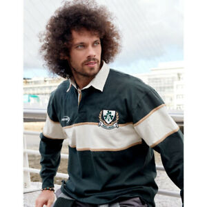 Ireland Rugby Shirt Striped Long Sleeve, Bottle Green And Natural Colour