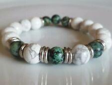White Howlite, African Turquoise beads & Links Of London silver rings -bracelet