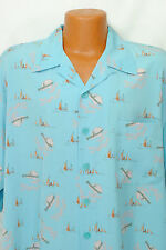 Heaven Or Hell Size XL Camp Shirt Blue Blue Sailboat Clouds Casual Lounge