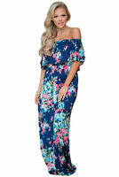 Women Floral Print Layered Ruffle Off Shoulder Beach Boho Long Flower Maxi Dress