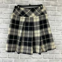 Vintage retro 80s/90s black & cream school girl plaid pleated skirt Pendleton 10