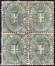 ★F158 REGNO - Stemma 5 c. verde n. 59 in quartina usata. Cat. €. 50.