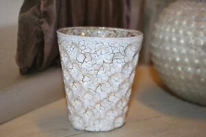 Windlicht Teelichthalter Weiß Gold 8,5cm Glas Tisch Raum Geburstag Hochzeit Deko