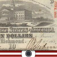 BRIGHT T-59 1863 $10 CONFEDERATE CURRENCY *CIVIL WAR BILL*  10616