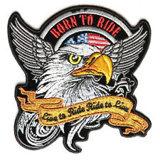 Embroidered Born to Ride Eagle Motorcycle Sew or Iron on Patch Biker Patch