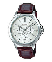 MTP-V300L-7A Black Casio Men's Watches Analog Geunine Leather Band Brand New