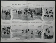 New listing Ostend Beach Mixed Swimming Bathing Machines 1907 3 Page Photo Article 7934