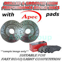 Rear Drilled and Grooved 240mm 4 Stud Solid Brake Discs with Apec Pads