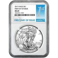 2017 Silver American Eagle MS69 FDI NGC 1st Label