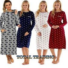 Ladies womens long  Sleeve Night Shirt Nightdress Nightie  LOUNGE WEAR HOSPITAL