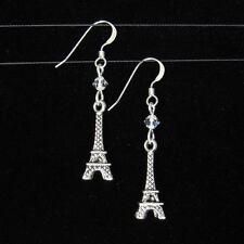 *SJ1* Paris Eiffel Tower Sterling Silver Hook Dangle Earrings w Upick Swarovski