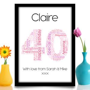 Personalised 40th birthday gift idea Keepsake A4 word art design Name & message