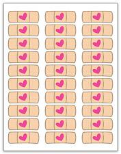 "30 Doc McStuffins Heart Band Aid Labels / Stickers, 1"" x 2-5/8"""