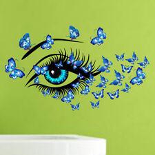 1PC Removable Butterfly Girl Eye Vinyl Art Wall Sticker Pretty Room Decal Decor