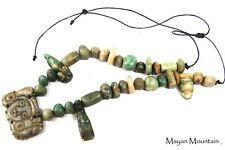 ANCIENT LOOKING MAYAN CEREMONIAL NECKLACE IN GUATEMALITA JADE & JADEITE MAYA