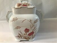 GREEN & CLAY 1890 Staffordshire Transferware Sugar Caddy WHEAT AND POPPY DESIGN