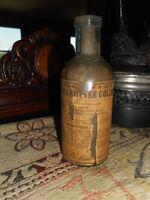 Antique Butter Color Bottle w Label Very old Farmhouse Vase Wells Richard ?