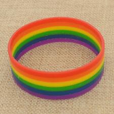 Unisex Gay Pride Rainbow Stripe Silicone Bracelet Wristband Cuff