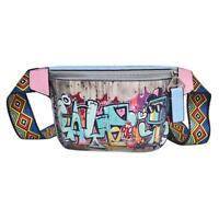 Hip-hop Fanny Pack For Women Leather Graffiti Shoulder Chest Waist Belt Bag