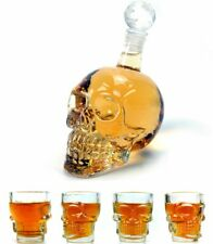 Wine Decanter Set Skull Carafe with Stopper Set of 5 Great Whiskey Drinking Ware