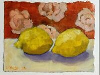 Lemons Bright and Colorful, Original oil on paper, signed Palmisano, framed.