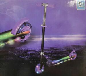 New Light Up Scooter Inline Foldable LED Wheel Junior Boys Girls Ride Purple 5+