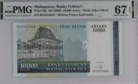 MADAGASCAR 10,000 10000 ARIARY ND 2009 P 92 SUPERB GEM UNC PMG 67 EPQ