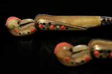 Antique Persian Bone Hand Made, Inlaid Brass and Silver Plated Serving Set Rare
