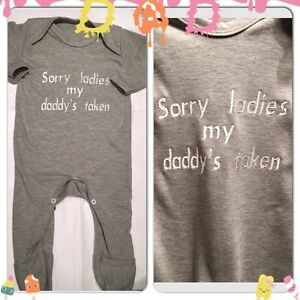 Personalised Baby Grow,Bodysuit,Outfit,Sorry Ladies My Daddy's Taken Unique Gift